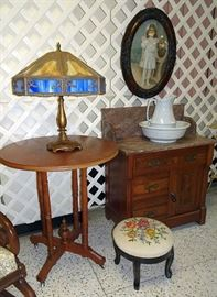 Walnut Marble Top Washstand, Parlor Table