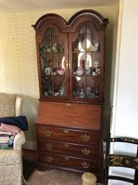 Secretary filled with antique crystal