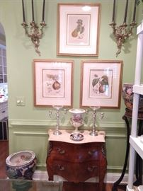 Better shot of the framed botanicals, vintage French 2-drawer bombè chest, with bronze mounts and marble top, pair of Asian porcelain fishbowls, antique 3-legged plant stand.