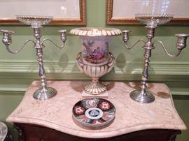 Pair of Gorham sterling silver 3-light candelabra, #660, vintage Old Paris porcelain urn, Imari plate.