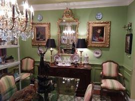 Gorgeous antique French gilt wood mirror, original oils on canvas, vinatge Baker French sideboard.