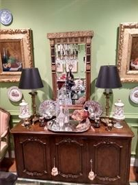 Gorgeous antique French gilt wood mirror, original oils on canvas, vintage Baker French sideboard.