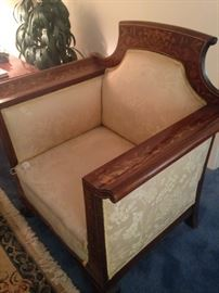 "Antique ""soft butter-colored"" chair with inlaid wood"