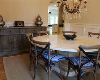 """72"""" Round White Farmhouse Table"""
