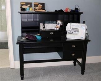 Black Wood Desk with Hutch