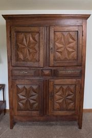Antique Cherry 19th Century Armoire with Carved Panels