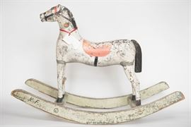 Original Paint Wooden Childs Horse with Initials KF