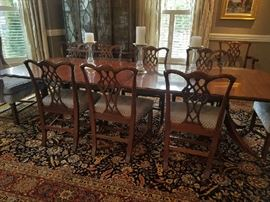 Fantastic Dining Set.  Pristine.  Custom Designer Upholstery.  Gorgeous Oriental Rug.  Everything is immaculate.