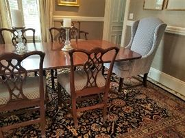 10 Ribbon Back Chairs including 2 arms.  2 Upholstered Chairs in Designer fabric complimenting Ribbonback chairs.