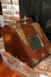 Antique Fireplace Wood/Coal Scuddle Box Bin