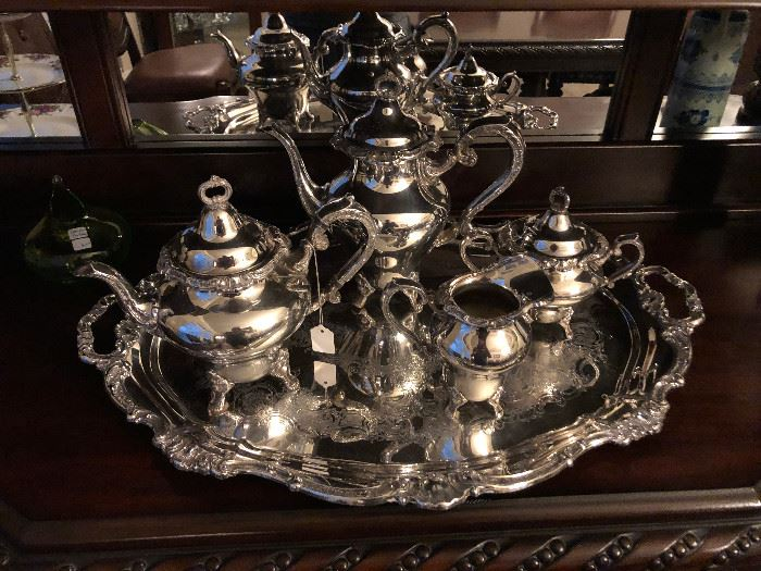 Gorgeous Gorham silver plated coffee and tea service set with tray