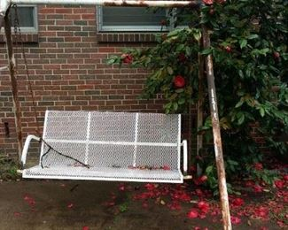 Outdoor metal swing and frame