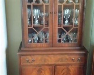 Fine Furniture mahogany china cabinet.  Petite mid-century size