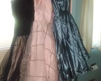 Several vintage party dresses.  Small sizes for this group from late 40s and early 50s Marginal condition, fun priced to sell!