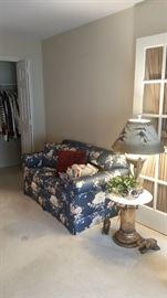 Sherrill Furniture love seat sofa, Italian marble topped pedestal, modern table lamp, elephant decor, closet 1 ladies clothing, & great mask!