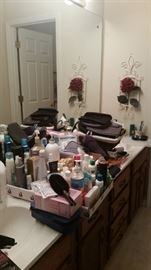 Toiletries, personal care items, make-up bags, travel sizes, floral, & plate hanger
