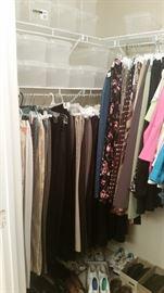 Closet 2 - ladies pants, shoes, about 20 clear shoe boxes