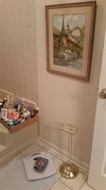 Weight scale, TP holder, more first aid supplies, & beautiful original framed artwork!