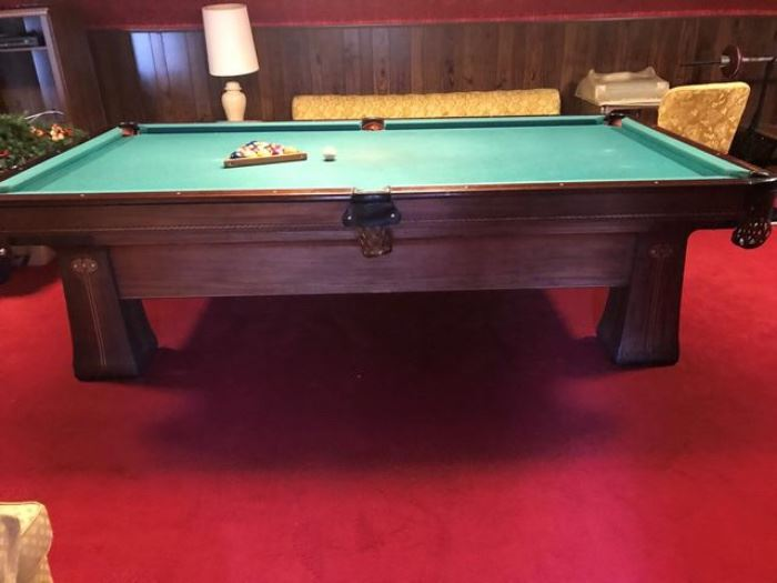 "Antique Brunswick Regina Snooker Table - 50+ Years Old.  5' Wide by 9.2'Long, by 32"" High.  Leather Web Table Pockets.  Antique Pool Balls, Cue Ball and Rack. 11 Cue Sticks, 1 Cue Extender"