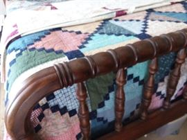 Full size antique spool bed. Headboard,  footboard and mattress.