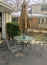Patio table with 4 chairs, Umbrella & stand