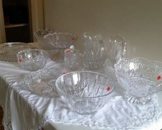 Full lead crystal pitchers & serving bowls, some items SOLD