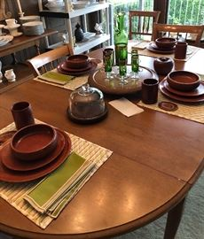 Drexel Dining Table with Vintage Tableware