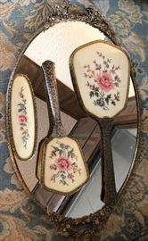 Hand Embroidered Silver Hair Brush/Mirror Set