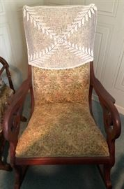 Vintage Embroidered Rocking Chair