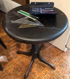 Antique Table shown with Vintage Drafting Items