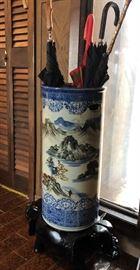 Oriental Umbrella Stand on Wooden Pedestal