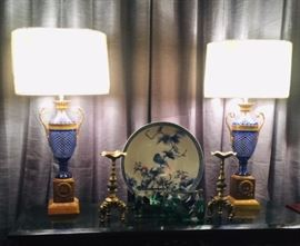 A Pair of French Baccarat Cobalt Cut-to-Clear Gilt Bronze Mounted Lamps  French ca 1900