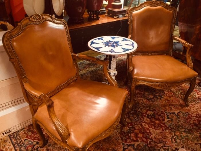 Pair of French Style Leather Chairs