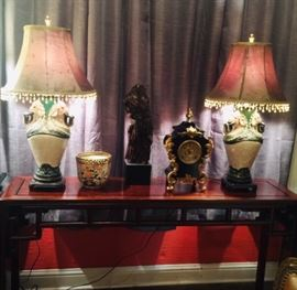 Asian Style Console Table, Pair of Elephant Lamps, Antique Clock, Imari and Metal Figure