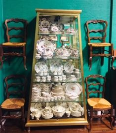 French Provencal Chairs and Four Sets of Fine China