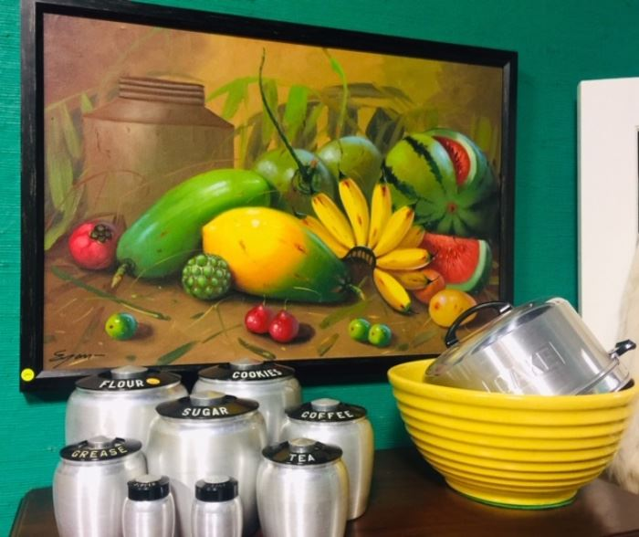 Large Vintage Aluminum Canister Set with Cake Cover, Still Life Oil Painting