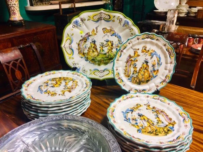 Italian Faience Platter and Plates