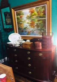 Mahogany Sideboard and Oil Painting