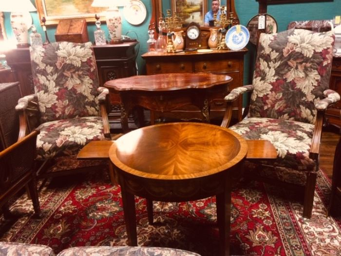 Fine Armchairs with Acanthus Leaf Tapestry Upholstery and a Beautiful Mahogany Round Occasional Table