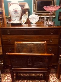 Antique Folio Stand and Ribbon Mahogany Chest