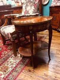 French Inlaid Table with Gallery Rail