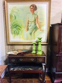 Fabulous Marble Top Cocktail Table, Desk and Vintage Portrait