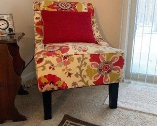 Upholstered Floral Side Chair
