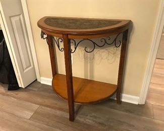 Demilune Wood Table with Decorative Iron Accents