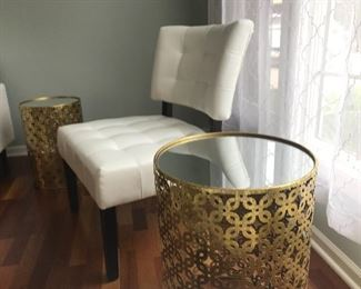 White Leather Side Chair and Mirrored Top End Table