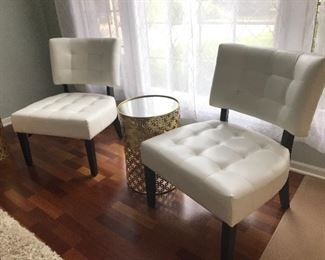 White Leather Side Chairs  and Mirrored Top End Table