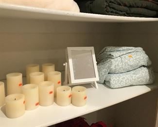 Electric Candles, linens, tabletop mirror