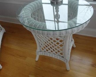 """Round Wicker End Table - 20"""" R X 28""""H"""