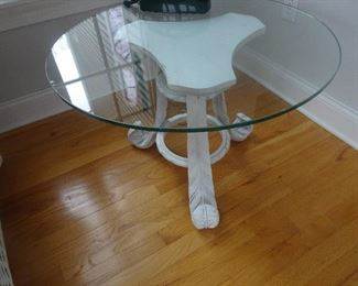 """Round Glass Top Table - 28""""R X 19.5"""" H"""