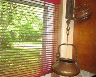 Copper teapots, scales
